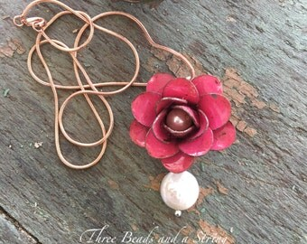 Pink Painted Metal Flower with White Freshwater Pearl Center and Rose Gold Chain