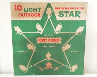 Christmas In July SALE - Vintage 15 Inch White Metal Star with C9 Bulbs, Outdoor, White Christmas Holiday Lights, Original Box