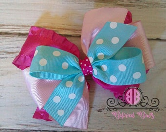 Layered Shocking Pink Aqua and Light Pink Hair Bow---Beautiful Layered Hair Bow--Pinwheel Hair Bow--Boutique Hair Bow--Birthday Hair Bow