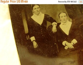ON SALE Antique Haute Edwardian Tin Type Photo Very Victorian Ladies in their Hats Darkart