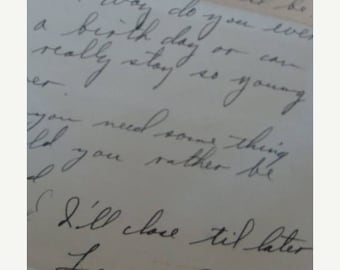 ON SALE Antique Military Handwritten Love Letter from a Very Loving Military Man to His Sweetheart WWII
