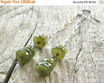 20% OFF RESERVED FOR Shay - Green Vessuvianite Long Drop Sterling Silver Earrings