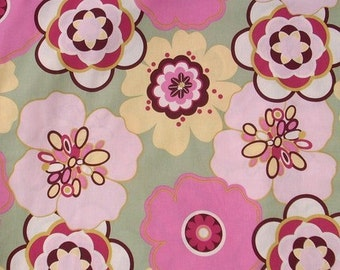 SALE FABRIC - Kleo Fabric - Alexander Henry Fabric - 100% Cotton  - 1 yard - Washed - Pink and Sage Green Fabric - Pink Sage Floral Fabric