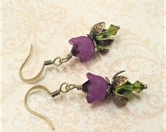 Purple Lucite Flower Earrings, Crystal Swarvoski, Amethyst Flower Earring, Victorian, Antique Brass, Eggplant, Dark Purple, Mothers Day Gift