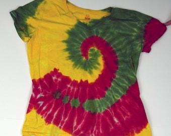 Reggae Rhythms Tie Dye T-Shirt (Fruit of the Loom Ladies Heavy HD V-neck Size XL) (One of a Kind)