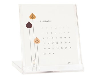 2017 Desk Calendar - BUY 2 GET 1 FREE - Calendar With Stand - Retro Flowers Calendar - Black Friday Cyber Monday Sale