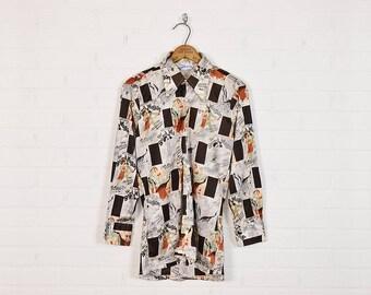 Vintage 70s Shirt Disco Shirt Disco Collar Shirt Button Up Shirt Button Down Film Movie Poster Novelty Print Shirt Hippie Shirt Hippy Mens M