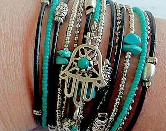 Best Boho Wrap Bracelet - Protection Bracelet - Evil Eye Jewelry - Turquoise Hamsa Bracelet -Kabbalah Bracelet - Evil Eye Wrap Bracelet