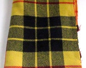 Vintage Wool Fabric, Yellow Plaid, Wool Yardage, Hooking, Small Projects, Crafting Wool, Wool Fabric, Wool Applique, Penny Rugs