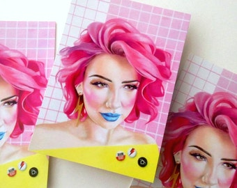 5 x Postcards Rad 80s 90s Graphics Teen pink hair n pins