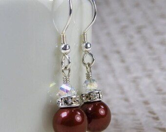 Deep Red Pearl Earrings, Maroon Burgundy Drop, Swarovski Crystal, Sterling Silver, Bridesmaids Wedding Jewelry, Bridal Party Gift, Handmade