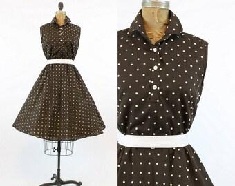 50s Dress Polka Dot XS / 1950s Vintage Dress Polka Dot Full Skirt / R & K Originals Dress
