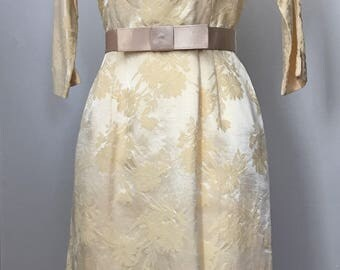 Vintage 50s 60s Cream Damask Wiggle Dress Bow Belt M