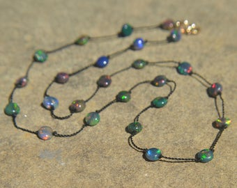 Ethiopian Welo Opal Knotted Silk Necklace