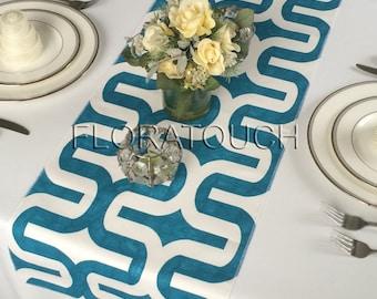 Embrace White and Dark Turquoise Teal Blue Damask Table Runner Wedding Table Runner