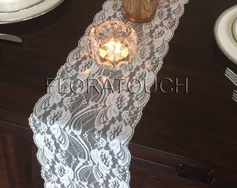 """Off White Lace Table Runner Wedding Table Runner Floral Swirl 7"""" wide"""
