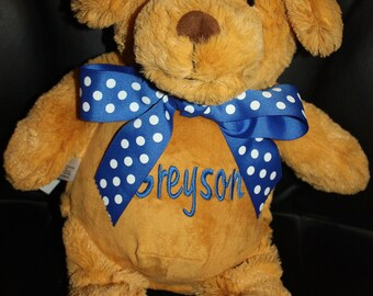 "Personalized Stuffed Animal Cubbies- Brown Dog ""Barkley Bone""-SALE-LAST ONE"