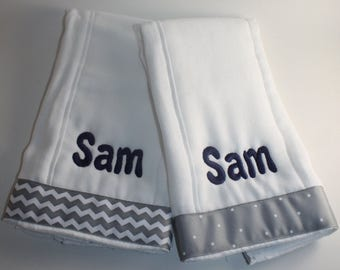 Embroidered Personalized Burp Cloth Set of 2 with Gray Chevron and Dots  Ribbon- Girl or Boy