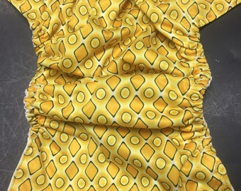 MamaBear BabyWear Waterproof Diaper Cover / Swim Diaper, Wrap One Size Fits All - Golden Geometry