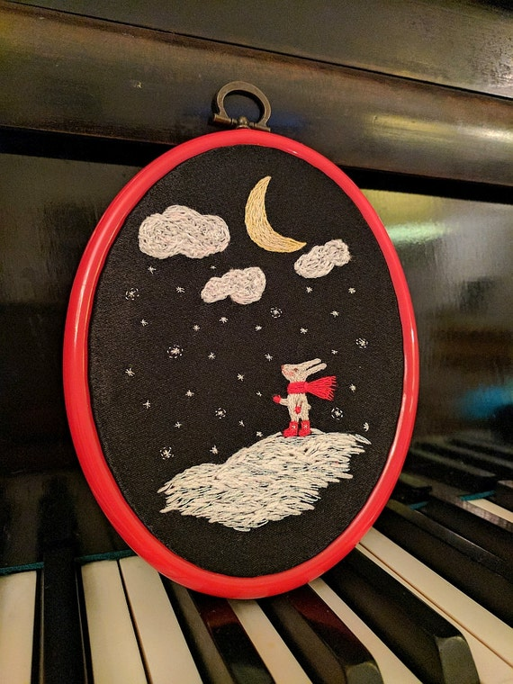 "Hand Embroidery Hoop Wall Art - Bunnies also look to the sky -  hand embroidered 6.5"" wall hanging"