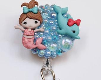 Baby Mermaid And Her Dolphin ID Badge Reel - Retractable ID Badge Holder - Zipperedheart