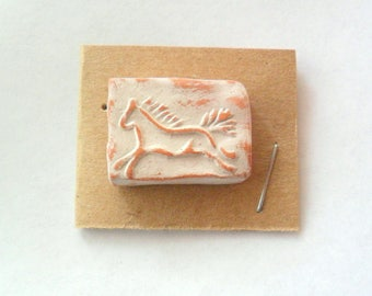 Two-Hole Horse Bead Finding in Terra Cotta Kiln Fired Clay