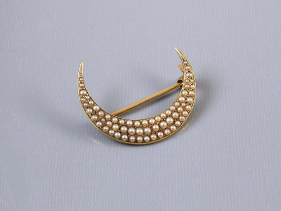 Precious antique Edwardian 14k gold micro seed pearl half moon crescent brooch pin signed AJ Hedges & Company