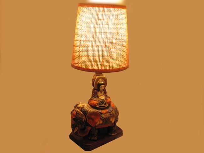 Vintage hand painted Elephant Japanese / India / Indian / Satsuma table lamp / pottery / Asian / Oriental / Japan / moriage / lighting