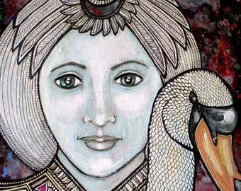 """Original """"Swan Maiden"""" Fairytale Painting by Lynnette Shelley"""