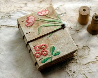 The Gatherer - Vintage Linen Journal, Tea Stained Pages, Mixed Ephemera - OOAK