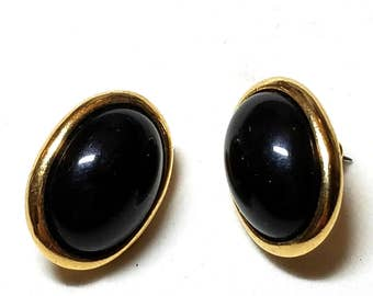 Vintage Trifari Pierced Earrings Black with Gold Trim