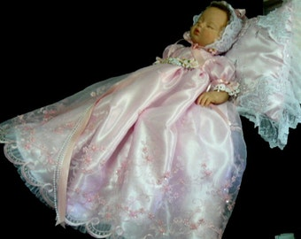 REBORN  Parfait Pink Embroidered, Beaded GOWN for reborn doll,   BABY