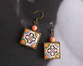 Earrings Tile Portugal Azulejo Portuguese Antique FRAMED - Caldas da Rainha  Persian Arab Corda Arista Spanish - Gift Box Included  575