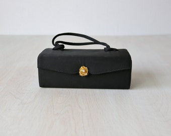 Vintage 1940s Small Black Box Handbag / 40s Box Handbag / A Tisk and Task
