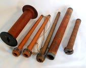 6* Antique WOOD MILL BOBBINS Textile Factory Primitive Merkel Saltaire Primitive