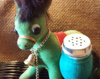 Vintage Flocked Donkey Salt and Pepper Shaker