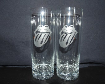 Rolling Stones Tall Cocktail Glasses