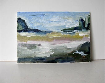 """Original acrylic Impressionist landscape painting on canvas, Expressionist wall decor, 5"""" x 7"""", small Contemporary art, gift idea"""