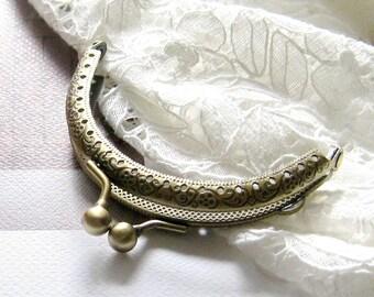 Set of 2 pcs - 3.5 inch, 8.5cm -Antique brass purse frame, vintage style bag frame, small metal frame, clutch frame F1