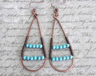 Copper Jewelry, Copper Earrings, Teardrop Earrings, Vintaj Jewelry, Long Earrings, Howlite Earrings, Turquoise, Hammered Earrings, Festival