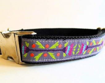 Purple Floral Boho Dog Collar with Metal Buckle - Medium