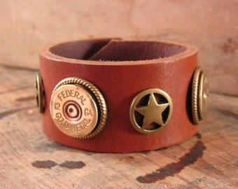 Shotgun Casing Jewelry - Bullet Jewelry - Saddle Leather Cuff Bracelet - Unisex Lone Star Saddle Brown and Brass 12 Gauge Cuff Bracelet