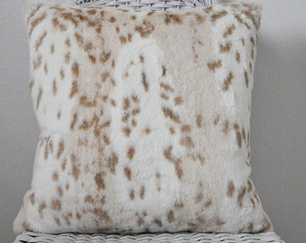 Faux Fur Print Pillow Minky Pillow Siberian Leopard Minky Pillow Pillow Fur Accent Pillow