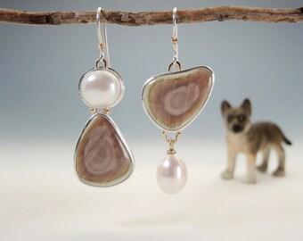 Asymmetrical Imperial Jasper and Pearl Earrings, Silver and Gold, Handmade, Elegant, Artsy