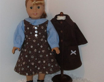 "Brown and Blue Jumper and Coat Set, Fits 18"" Dolls // AG Doll Coat, AG Doll Jumper, American Girl Jumper, Doll Coat Set, Blouse, Winter Coat"