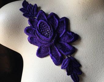 PURPLE Lace Applique Venise Lace for Lyrical Dance, Costume Design, Garments CA 196purple
