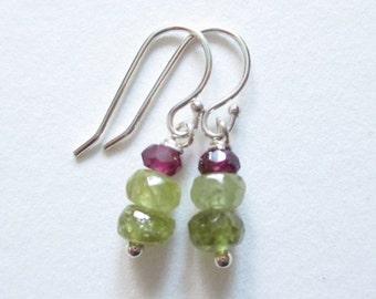 Garnet Earrings, grossular, rhodonite garnet, janurary birthstone earrings