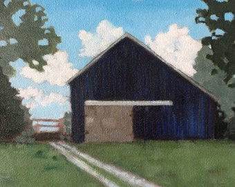 Barn in Blue-Folk Art on Canvas