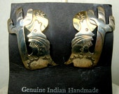 Native American WOLF Earrings, Sterling Silver Indian Post Earrings, Wolf Howling At Moon w Desert Cactus, Classic Old Southwest Design, USA