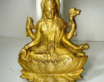 Goddess Laxmi, Sitting on Lotus Flower, She Brings Wealth & Prosperity, Hindu, Heavy BRASS Wall Hanging, Traditional , 1970s , Ready to Hang